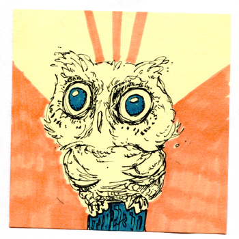 Post-It A Day – Blue Eye Owl