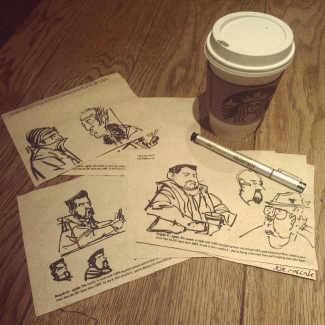 Sketching at Starbucks