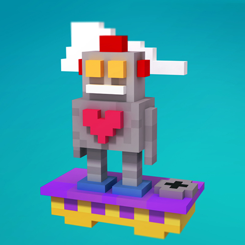 Heart Robot Voxel Sketch